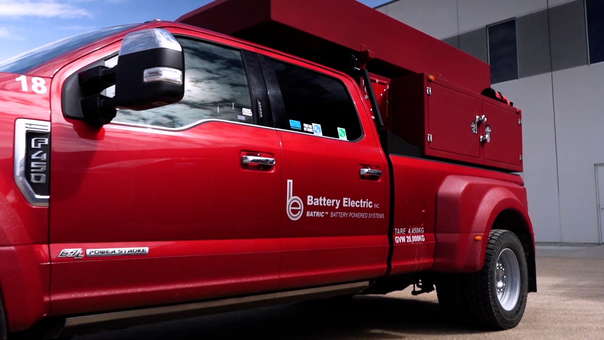 Battery Electric Red Service truck